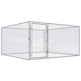 Adăpost de câini pentru exterior, oțel galvanizat, 2 x 2 m