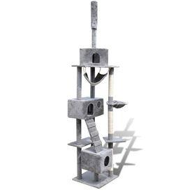 Ansamblu de joacă cu stâlp 220-240 cm 3 căsuțe Gri
