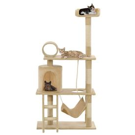 Ansamblu de joacă pisici, stâlpi funie din sisal, 140 cm, bej