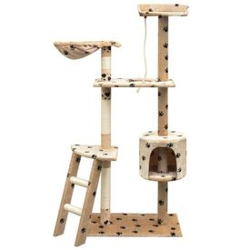Ansamblu pisici cu funie sisal, 150 cm, imprimeu lăbuțe, bej