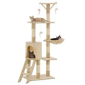 Ansamblu pisici cu stâlpi din funie de sisal, 138 cm, bej