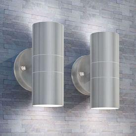 Aplică LED perete exterior 2 buc, oțel inoxidabil, sus/jos