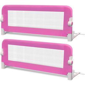 Balustradă de pat protecție copii, 2 buc., roz, 102 x 42 cm