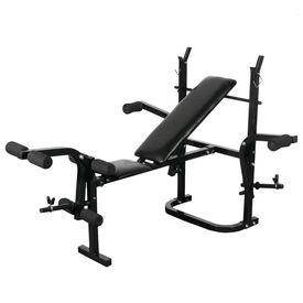 Bancă fitness cu raft greutăți set haltere și gantere 120 kg