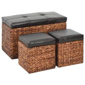 Banchetă cu 2 taburete, iarbă de mare, maro și negru