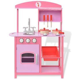 Bucătărie de jucărie din lemn 60 x 27 x 83 cm, roz