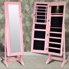 Cabinet roz pentru bijuterii cu suport, oglindă și lampă LED