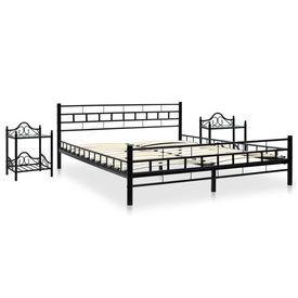 Cadru de pat cu 2 noptiere, negru, 160 x 200 cm, metal
