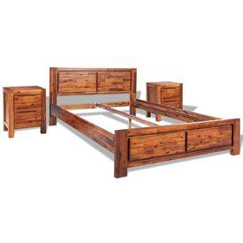 Cadru de pat cu noptiere, maro, 140x200 cm, lemn masiv acacia