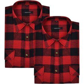 Cămașă de lucru pentru bărbați, flanel tartan roșu-negru, XXL, 2 buc.