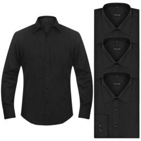 Cămăși business pentru bărbați, mărime XL, negru, 3 buc.