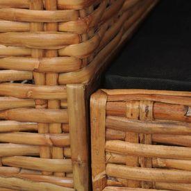 Canapea de 2 locuri cu perne, maro, ratan natural