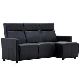 Canapea extensibilă, formă L, tapițerie piele ecologică, negru