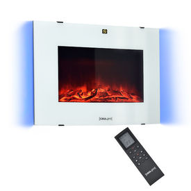 [casa.pro]® Incandescent Semineu electric montabil pe perete AASL-6204, 65 x 13,5 x 46 cm, 950W / 1900W, 12,5 kg, plastic, metal, sticla, alb