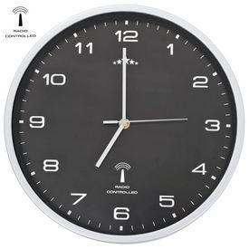 Ceas de perete controlat prin semnal radio, negru, 31 cm