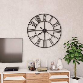 Ceas de perete vintage, cu cuarț, lemn și metal, XXL, 80 cm