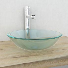 Chiuvetă din sticlă securizată, 42 cm, mătuită