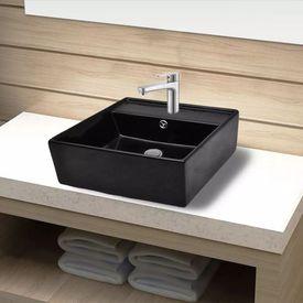 Chiuvetă pătrată de baie din ceramică, negru