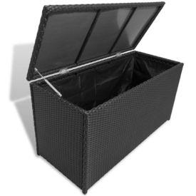 Cufăr de depozitare pentru grădină din poliratan, negru