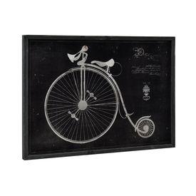 Design fotografie de perete pe placa de aluminiu Model 12 - bicicleta roti inalte (desen tehnic) - 50x70x2,8cm, cu rama lemn