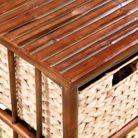 Dulap noptieră, bambus și zambilă de apă, 36 x 33 x 58 cm