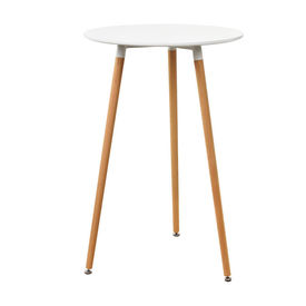 [en.casa]® Masa bar rotunda - design retro - (Ø x inaltime): 70 x 107 cm - alb