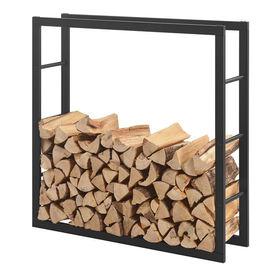 [en.casa]® Stove Suport lemne pentru sobe si seminee AAFR-6604, 100 x 100 x 25 cm, otel, negru