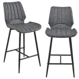 [en.casa] Set 2 scaune bar Noni 2, 102,5 x 46,5 cm, metal/imitatie piele, gri inchis