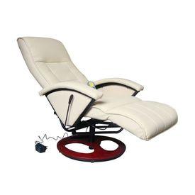 Fotoliu de masaj electric, piele artificială, alb crem