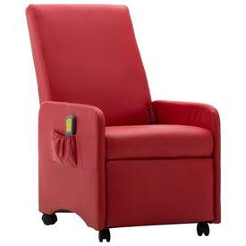 Fotoliu electric de masaj rabatabil, roșu, piele ecologică