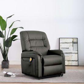 Fotoliu TV rabatabil electric cu masaj, gri, piele ecologică