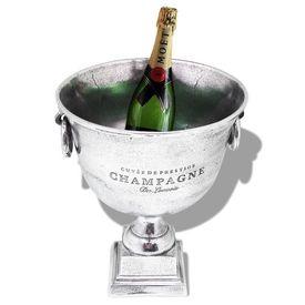 Frapieră șampanie, formă cupă trofeu, aluminiu, argintiu