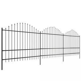 Gard pentru grădină cu vârf suliță (1,5-1,75)x6 m Oțel, negru