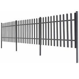 Gard șipci, 3 buc, WPC, 6 m lungime, 100 cm înălțime, gri
