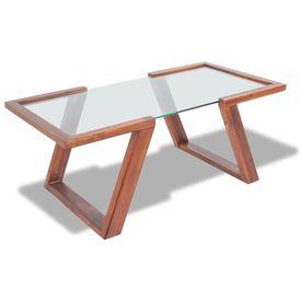 Masă de cafea din lemn solid de acacia, 100 x 50 x 40, maro