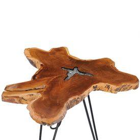Măsuță de cafea, 70 x 45 cm, lemn masiv de tec și polirășină