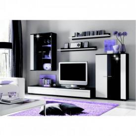Mobilier living cu iluminare LED alb/negru extra lucios HG GL CANES