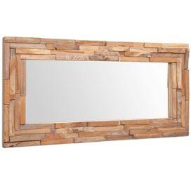 Oglindă decorativă din lemn de tec, 120 x 60 cm, dreptunghiular