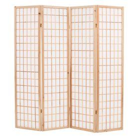 Paravan pliabil cu 4 panouri, stil japonez, 160x170 cm, Natural