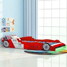 Pat pentru copii mașină de curse, cu LED, 90 x 200 cm, roșu