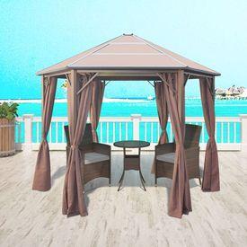 Pavilion cu perdele, aluminiu, 310 x 270 x 265 cm, maro