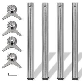 Picioare de masă înălțime reglabilă din nichel șlefuit, 710 mm, 4 buc