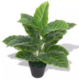 Plantă artificială Taro cu ghiveci, 45 cm, verde