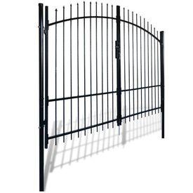 Poartă de gard cu uși duble, cu vârfuri de suliță, 300 x 248 cm