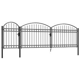 Poartă de gard de grădină cu arcadă, negru, 1,75 x 5 m, oțel