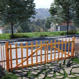 Poartă dublă de gard, lemn de alun tratat, 300x100 cm