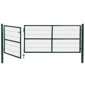 Poartă gard de grădină cu stâlpi, 350 x 120 cm, oțel, verde