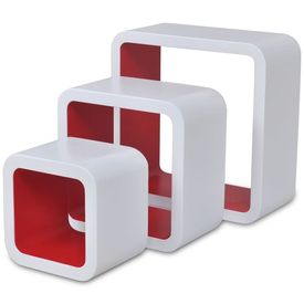 Rafturi cub de perete, 6 buc., alb și roșu