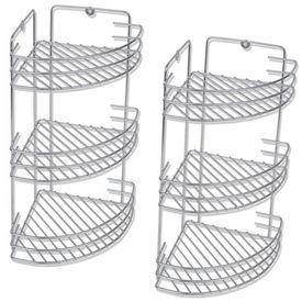 Rafturi de colț pentru duș cu trei polițe din metal, 2 buc.