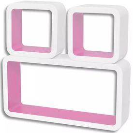 Rafturi de tip cub din MDF pentru cărți/DVD-uri, Alb-Roz, 3 buc.